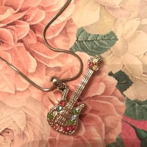 Jewelry - *3 for 12* NWOT Silver Guitar Necklace 🍭🍭